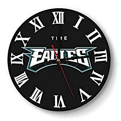 Modern Philadelphia-Eagles-Word-Logo- Style Wall Clock Battery Operated Office Quiet Clock