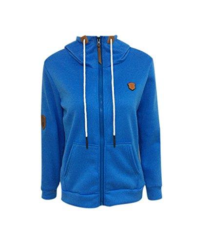 Azul Cuell Capucha Abrigo Largo con Alto Paño de Sudaderas Hoodie con Cremallera Chaquetas Jerseys Invierno para Mujer de Cazadora FU54A