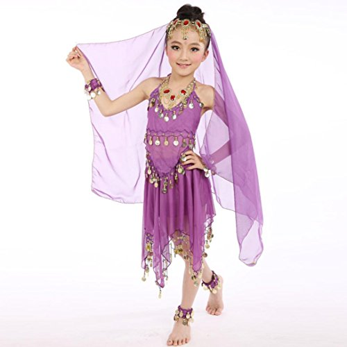 Matoen Handmade Children Girl Dance Costumes, Belly Kids Belly Dancing Egypt Dance Cloth Outfit (Purple)