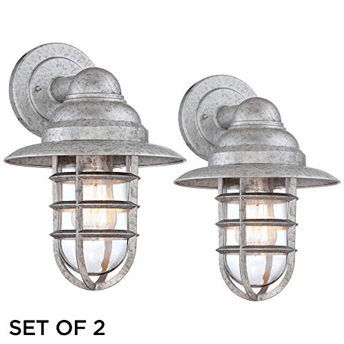 Marlowe Industrial Farmhouse Outdoor Wall Light Fixtures Set of 2 Galvanized 13 1/4 Hooded Cage Clear Glass for Exterior Barn House Porch Patio Deck - John Timberland