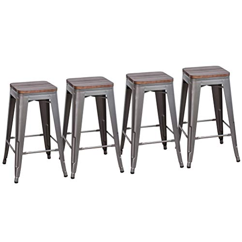 DeKea 26 Inch Bar Stools Counter Height with Wooden Top Seat Metal Stool Set of 4 for Kitchen or Indoor Outdoor Barstools, Backless Gunmetal