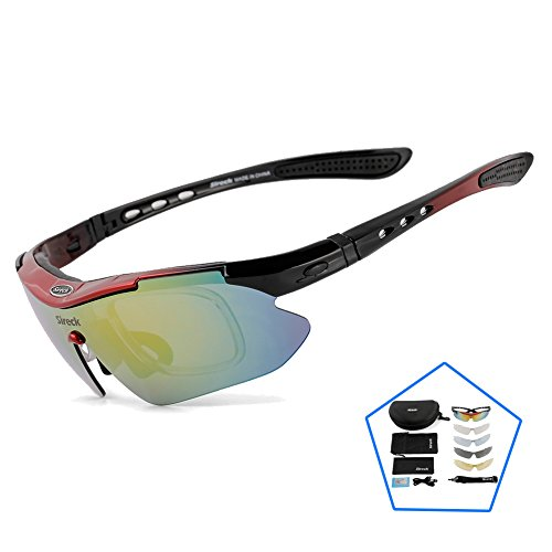 Sireck Polarized Sports Sunglasses Cycling Fishing Hiking Golf Glasses UV400 For Men Women + 5 Lens