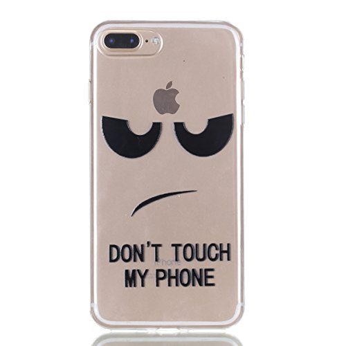 iPhone 7 Plus Custodia , Leiai Moda Soft DONT TOUCH MY PHONE Trasparente Silicone Morbido PU Protettivo Antiurto Cover Case Shell Custodia per Apple iPhone 7 Plus