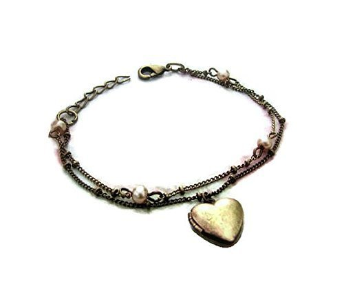 Heart Bracelet Locket with beige pearls and double strand chain in Antique Bronze ()