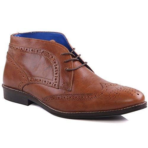 Unze Mens 'Gruse' cuero atado-hasta el desierto botas Reino Unido tamaño 7-11 Bronceado