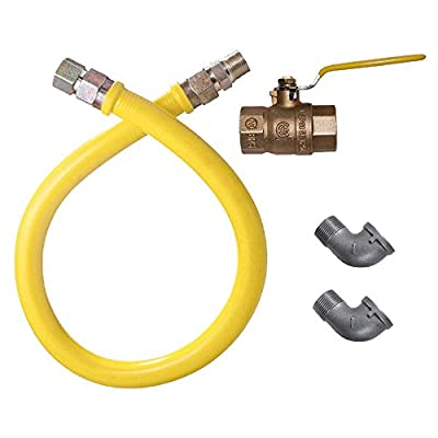 """Dormont 1650NPKIT60 Stainless Steel Stationary Foodservice Gas Connector - 60"""" x 1/2"""""""