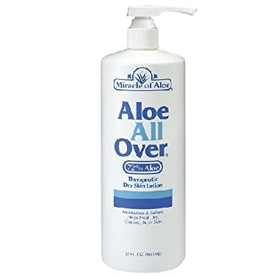 Miracle of Aloe All Over Lotion Cream 32 Oz Pump Best Dry Lotion You'll Ever Use Guaranteed! Ideal Dry Skin Lotion for Your Whole Body, Foot, Hand, Arms, Legs, Shoulders. Hydrate & Moisturize Your Skin with This Gentle Soothing Lotion. Dry, Flaking, Itchi