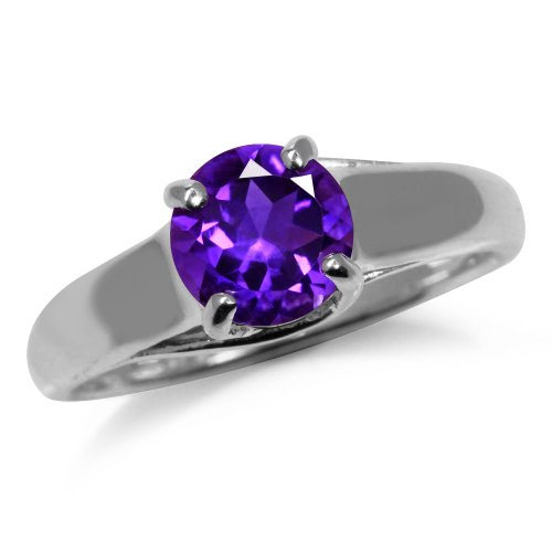 1.15ct. Natural African Amethyst 925 Sterling Silver Solitaire Ring Size 10