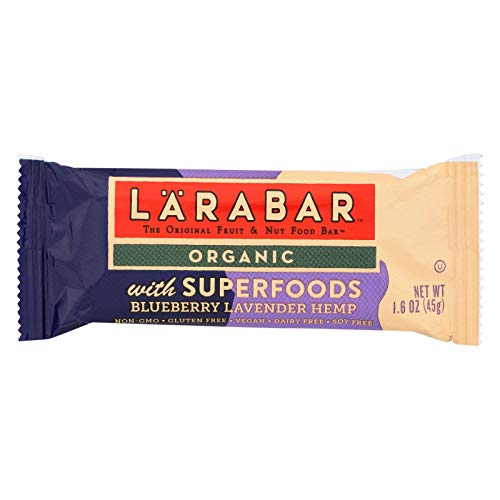 - LARABAR, BAR, OG2, SPRFD, BBRY LAV, HP, Pack of 15, Size 1.6 OZ - No Artificial Ingredients Dairy Free Gluten Free Vegan 95%+ Organic