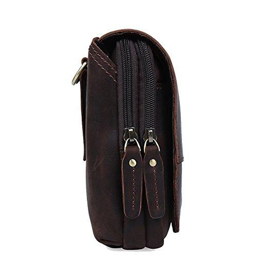 Modelshow Leder Flapover Doppelreißverschlüsse Tasche Handy Gürteltasche Bauchtasche