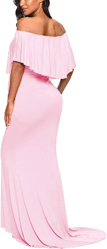 Love2Mi Womens Maternity Off Shoulder Ruffles Dress Mama Photography Slim Fitted Gown at  Women's Clothing store