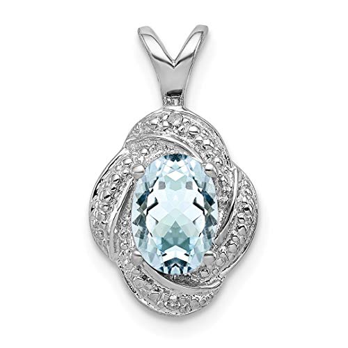 925 Sterling Silver Diamond Blue Aquamarine Pendant Charm Necklace Birthstone March Set Fine Jewelry Gifts For Women For Her from ICE CARATS