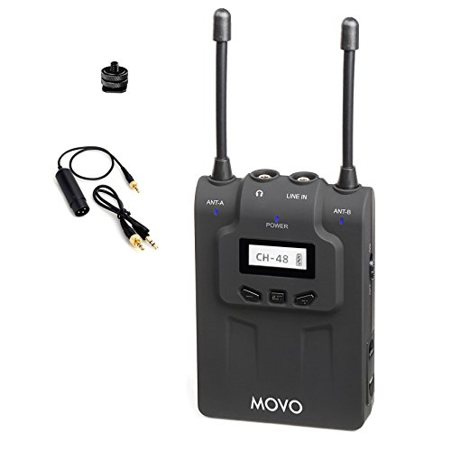 Movo WRX8 48-Channel UHF Wireless Portable Receiver with Camera Mount and XLR / 3.5mm Outputs for the WMIC80 Wireless Microphone System by Movo
