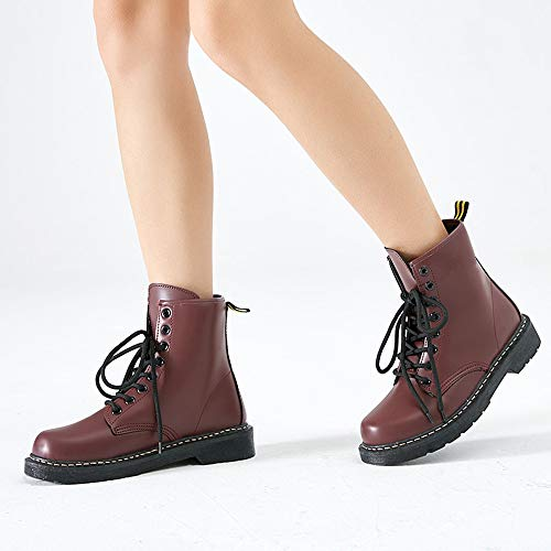 Damen Leder Booties Stiefeletten up Kampf LIANGXIE Für Lase Stiefel Runde Brown Lace Warme up Fashion Schuhe Frauen plus Martens Stiefel velvet Frauen Toe Mode xwqz0qXY
