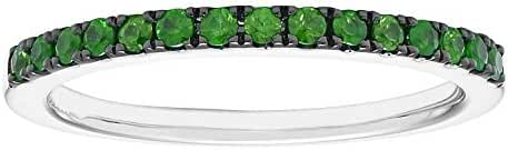 1/4 Tgw. Emerald Stackable Band Ring in 14K White Gold