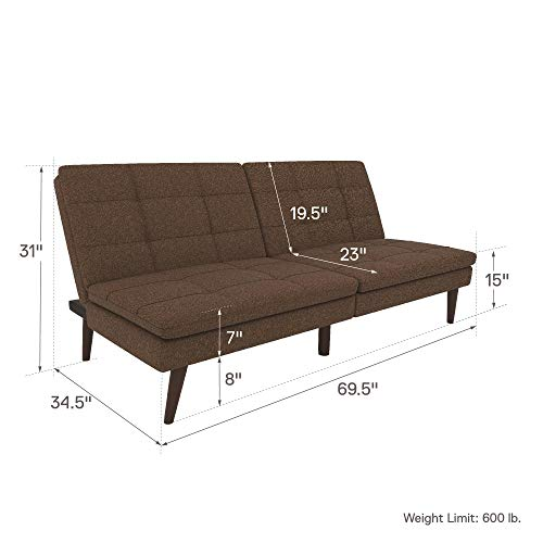 DHP Premium Westbury Linen Pillowtop Futon, Brown