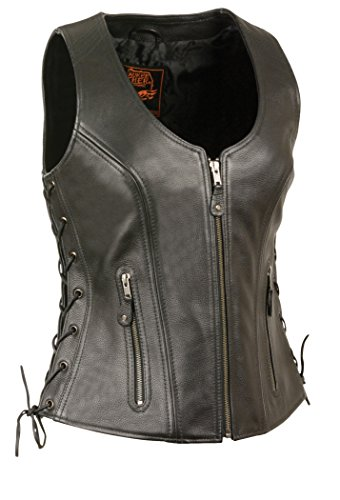 Milwaukee Women's Side Lace Vest with Stitch Detailing (Black, Large)
