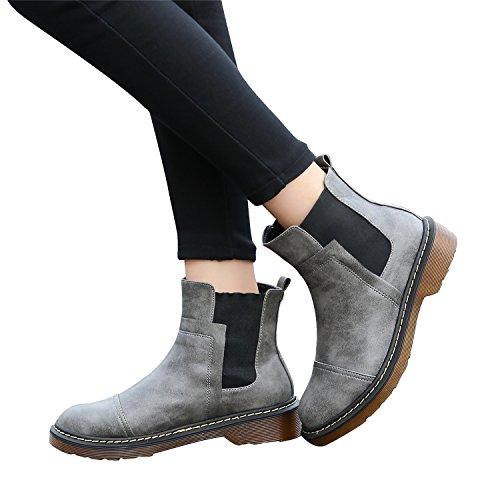 Zapatos planos de punta redonda, con hebilla clásica, para mujer, de Smilun gris