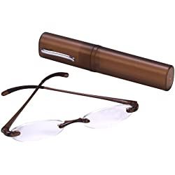 Select-A-Vision Flexi Light Reading Glass with Matching Case, Brown, +1.50