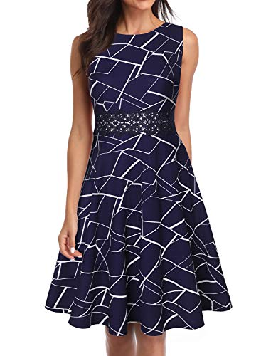 - OWIN Women's Vintage Floral Lace Flared A-Line Swing Casual Party Cocktail Dresses Sleeveless