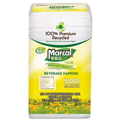 100% Premium Recycled Beverage Napkins, 1-Ply, 9 3/4 x 9 1/2, White, 4000/Ctn. by Marcal (Marcal Beverage Napkin)