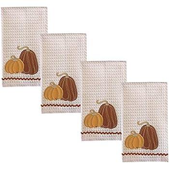 Lintex Harvest Gourds 4 Piece 100% Cotton Oversized Dish Towel Set - Cottage Farm Gourds Set of 4 Large 16