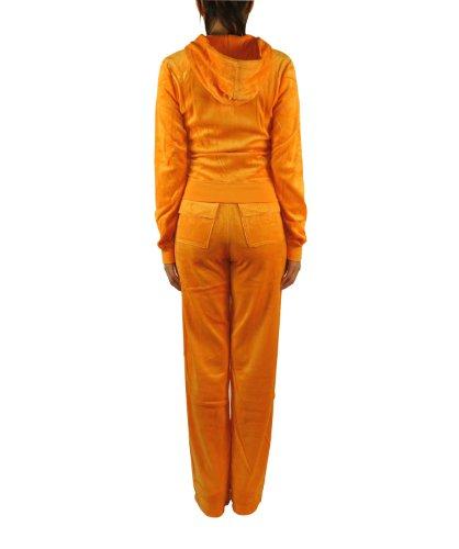 FandS-JO23019 Women's Hoodie Velour Set (LARGE, DARK ORANGE)
