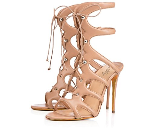 Amy Q Womens Open Toe Stiletto Cut Out Lace Up High Heel Gladiator Mid Calf Sandals For Casual Shoes Place PU Almond US 4 - Almond Calf Sandals
