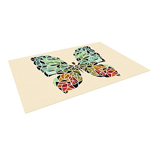 Kess InHouse Art Love Passion ''Butterfly'' Brown Multicolor Outdoor Floor Mat/Rug, 4 by 5'