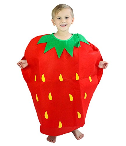 Red Strawberry Unisex School Play Party Costume Children Clothing Fruit Outfit