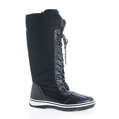 Sully's Frost02 Black Puffy Nylon Knee High Lace up Faux Fur Lined Duck (Fur Lined Duck Boot)