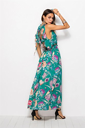 Size Abito Women Vita Green Lungo Hubingrong Backless Flower Chiffon Xxl Elastico Vintage Scollo Design Beach color Sexy Profondo Fashion In Stampa Wear Donne Dress Black V 4wqxIYRqg