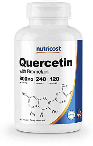 Nutricost Quercetin 800mg, 240 Veggie Capsules with Bromelain (165mg) - 120 Servings - Gluten Free, Non-GMO (Name A Vegetable People Add To A Salad)
