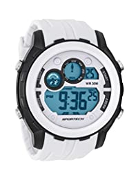 Sportech Unisex | White & Black Rim Super Full-Size Racer Digital Sport Watch | SP10903