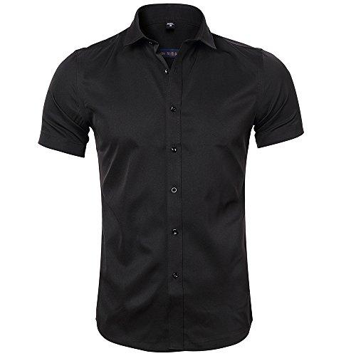 Inflation Bambou Homme Pour Taille Ajustée Manches Élastique shirt Chemise En Courtes Noir Hommes Formel T De Fibre 7FZfrTxq7