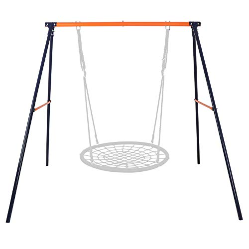 - SUPER DEAL Extra Large Heavy Duty All-Steel All Weather A-Frame Swing Frame Set Metal Swing Stand, 72