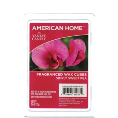 New (2pk) 6pc SIMPLY SWEET PEA SCENT American Home Yankee Candle Wax Cubes Melt Tarts