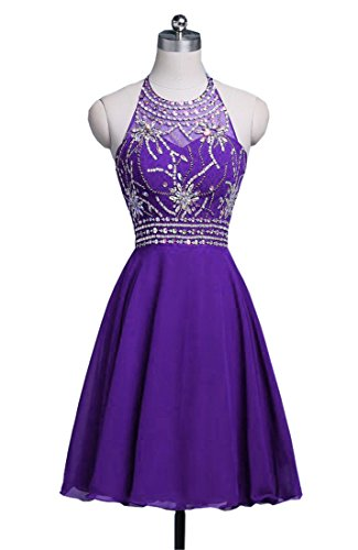 Beading Halter Backless Chupeng Short Prom Homecoming Chiffon Purple Crystal Gown Dress Women s IUwIxEgAq