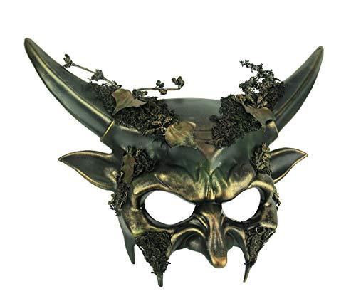 Green Woodland Demon Adult Halloween Forest Devil Mask]()