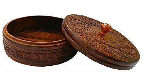 AR Handicrafts, Wooden Chapati Box Container   Roti Box  Serving Casseroles