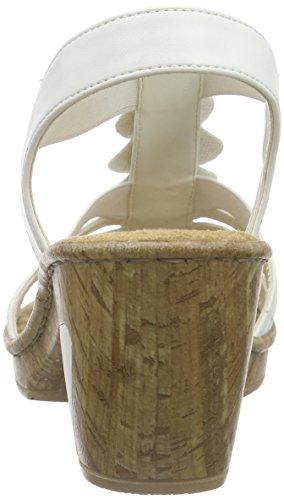 80 para Bianco De 69702 mujer Sandalias Vestir Blanco Rieker I68wHqw