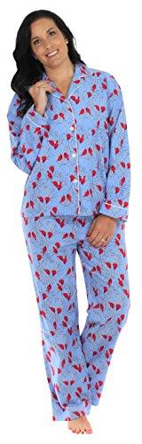 PajamaMania Women's Sleepwear Flannel Long Sleeve Pajama Set- Cardinals (PMF1002-2032-LRG)