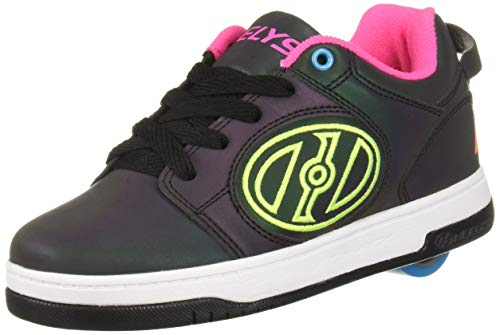 Heelys Girls' Voyager Tennis Shoe, Black Reflective/Neon Yellow/Neon Pink, 5 Medium US Big Kid