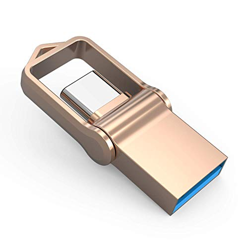 JUANWE 128GB USB 3.0 Type C Dual OTG Flash Drive USB C Thumb Drive Memory Stick for USB-C Smartphones, Tablets & New MacBook, Samsung Galaxy S8, S8 Plus, Note 8, LG G6, V30, Google Pixel XL - Gold