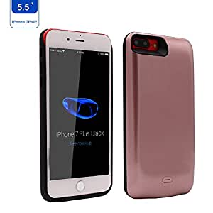 7500mAh Battery Case for iPhone 8 Plus iPhone 7 Plus iPhone 6 Plus,the Backup Charging Case with Lightning to USB cable and Tempered Glass Screen Protector by Epuirie (Rose Gold)