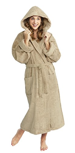 PARADOR Full Length Hooded Terry Bathrobe Unisex, 100% Combed Pure Turkish Cotton, Made in Turkey - Taupe …
