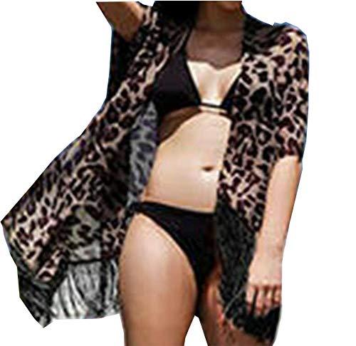 Womens Chiffon Swimwear Bikini Swim Beachwear Swimsuit Cover Up Kimono Cardigan (Leopard)
