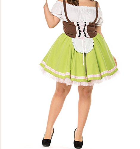 SEVEN O Womens Drindl Dress Short Oktoberfest Costume Bavarian Beer Halloween Fancy Dress (US12, (Serving Wench Costumes Renaissance)