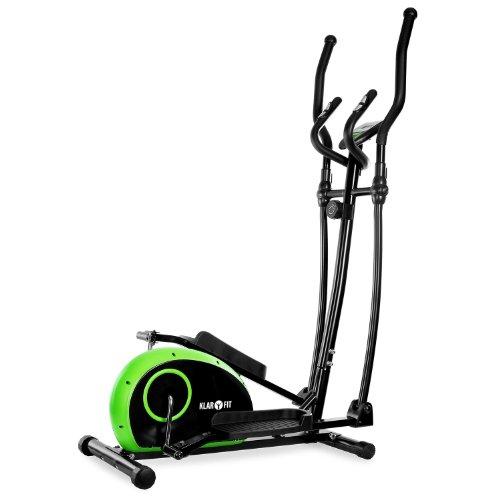 Klarfit ELLIFIT BASIC 10 Crosstrainer Heimtrainer inkl. Trainigscomputer (8-stufiger Widerstand, Trainingscomputer mit Zeit, Geschwindigkeit, Kalorienverbrauch und Distanz) grün-schwarz