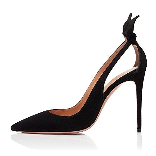 KJJDE Mujer Alta Tacón Mejorar Sandalias TLJ-336 Hueco Puntiagudo De Tacón Alto De Sexy Fiesta Baile Zapatos, Black,40 Black